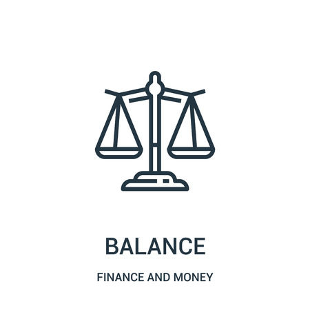 balance icon vector from finance and money collection. Thin line balance outline icon vector illustration. Linear symbol for use on web and mobile apps, logo, print media. Ilustrace