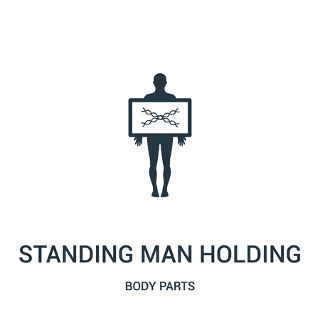 standing man holding an x rays image icon vector from body parts collection. Thin line standing man holding an x rays image outline icon vector illustration. Linear symbol for use on web and mobile