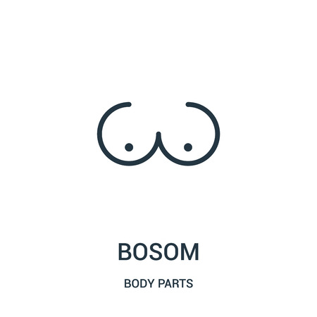 bosom icon vector from body parts collection. Thin line bosom outline icon vector illustration. Linear symbol for use on web and mobile apps, logo, print media. Illustration