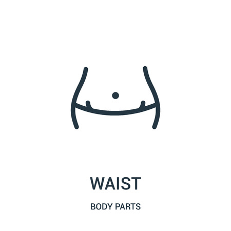 waist icon vector from body parts collection. Thin line waist outline icon vector illustration. Linear symbol for use on web and mobile apps, logo, print media. 向量圖像