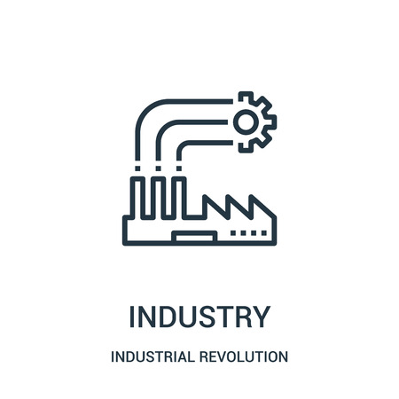 industry icon vector from industrial revolution collection. Thin line industry outline icon vector illustration. Linear symbol for use on web and mobile apps, logo, print media.