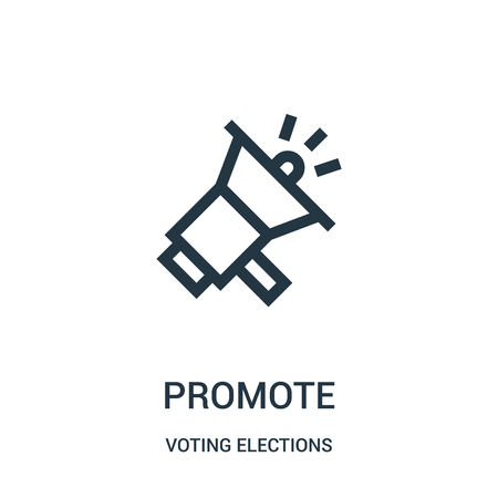 promote icon vector from voting elections collection. Thin line promote outline icon vector illustration. Linear symbol for use on web and mobile apps, logo, print media.  イラスト・ベクター素材
