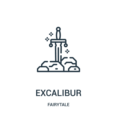 excalibur icon vector from fairytale collection. Thin line excalibur outline icon vector illustration. Linear symbol for use on web and mobile apps, logo, print media.