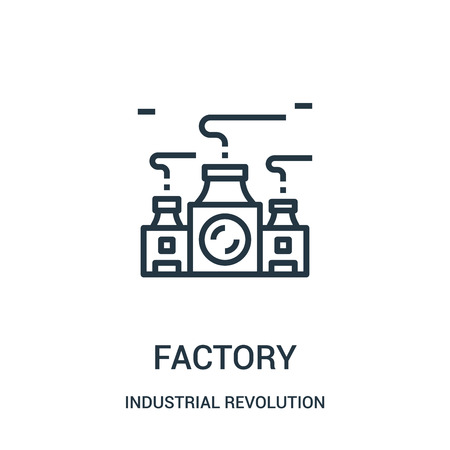 factory icon vector from industrial revolution collection. Thin line factory outline icon vector illustration. Linear symbol for use on web and mobile apps, logo, print media.