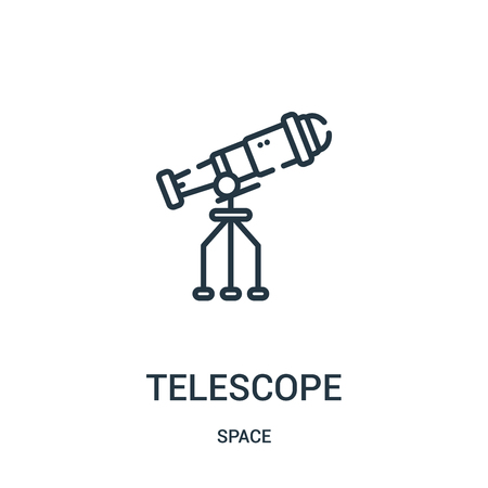 telescope icon vector from space collection. Thin line telescope outline icon vector illustration. Linear symbol for use on web and mobile apps, logo, print media.