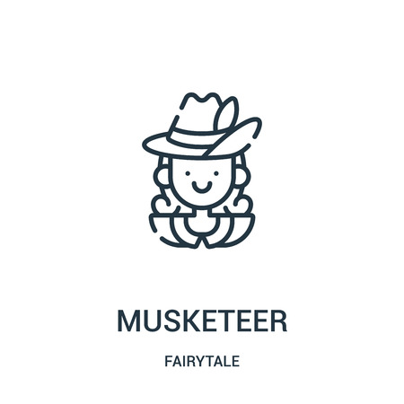 musketeer icon vector from fairytale collection. Thin line musketeer outline icon vector illustration. Linear symbol for use on web and mobile apps, logo, print media.