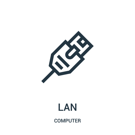 lan icon vector from computer collection. Thin line lan outline icon vector illustration. Linear symbol for use on web and mobile apps, logo, print media.