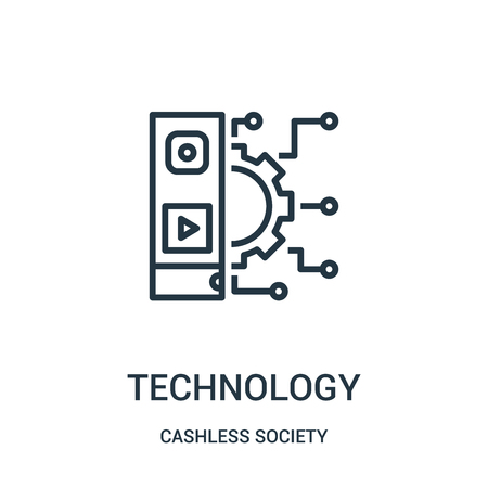 technology icon vector from cashless society collection. Thin line technology outline icon vector illustration. Linear symbol for use on web and mobile apps, logo, print media.