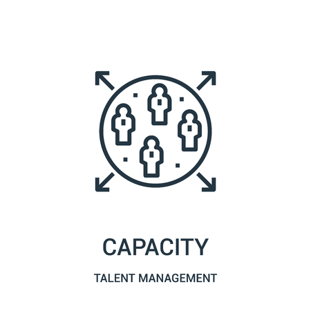 capacity icon vector from talent management collection. Thin line capacity outline icon vector illustration. Linear symbol for use on web and mobile apps, logo, print media.