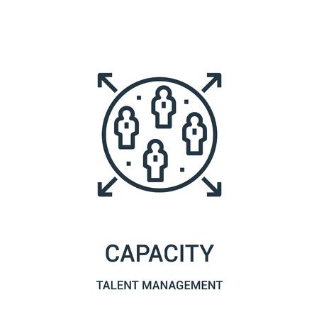 vecteur d'icône de capacité de la collection de gestion des talents. Fine ligne capacité contour icône illustration vectorielle. Symbole linéaire à utiliser sur les applications Web et mobiles, le logo, les supports imprimés.