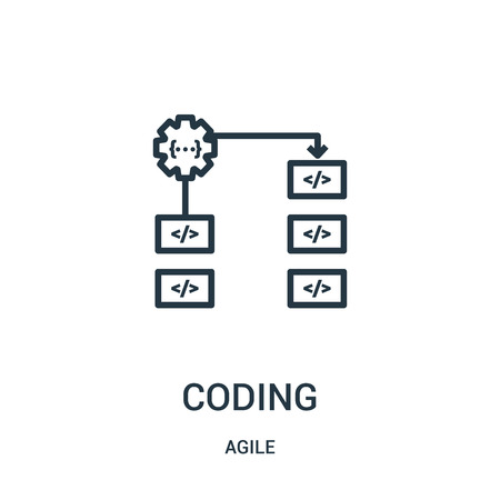 coding icon vector from agile collection. Thin line coding outline icon vector illustration. Linear symbol for use on web and mobile apps, logo, print media.