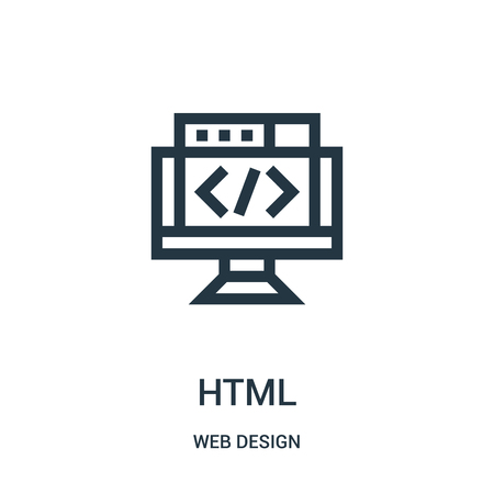 html icon vector from web design collection. Thin line html outline icon vector illustration. Linear symbol for use on web and mobile apps, logo, print media. Banco de Imagens - 124038394