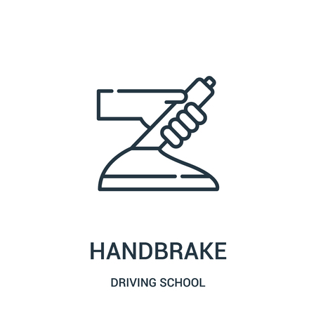 handbrake icon vector from driving school collection. Thin line handbrake outline icon vector illustration. Linear symbol for use on web and mobile apps, logo, print media.
