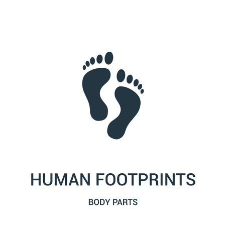 human footprints icon vector from body parts collection. Thin line human footprints outline icon vector illustration. Linear symbol for use on web and mobile apps, logo, print media.