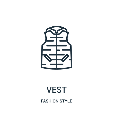 vest icon vector from fashion style collection. Thin line vest outline icon vector illustration. Linear symbol for use on web and mobile apps, logo, print media.
