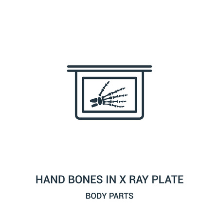 hand bones in x ray plate icon vector from body parts collection. Thin line hand bones in x ray plate outline icon vector illustration. Linear symbol for use on web and mobile apps, logo, print media. Illustration