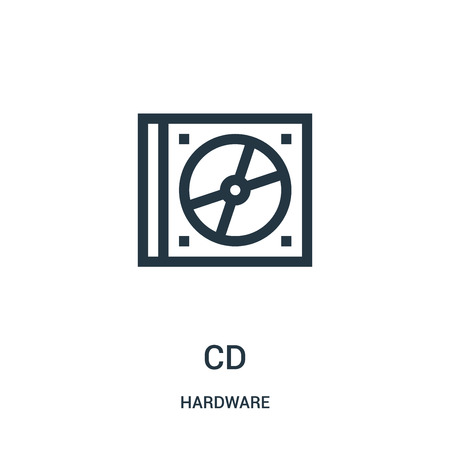 cd icon vector from hardware collection. Thin line cd outline icon vector illustration. Linear symbol for use on web and mobile apps, logo, print media. Illustration