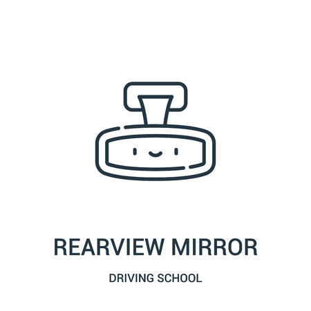 rearview mirror icon vector from driving school collection. Thin line rearview mirror outline icon vector illustration. Linear symbol for use on web and mobile apps, logo, print media.