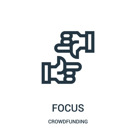 focus icon vector from crowdfunding collection. Thin line focus outline icon vector illustration. Linear symbol for use on web and mobile apps, logo, print media. Ilustracja