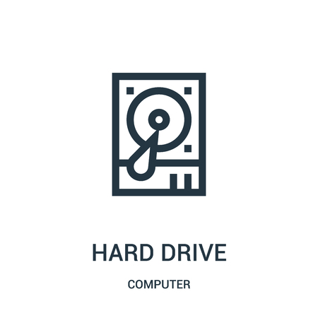hard drive icon vector from computer collection. Thin line hard drive outline icon vector illustration. Linear symbol for use on web and mobile apps, logo, print media. Illustration