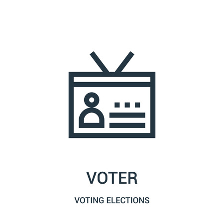 voter icon vector from voting elections collection. Thin line voter outline icon vector illustration. Linear symbol for use on web and mobile apps, logo, print media.