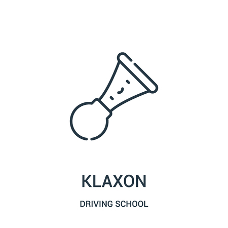 klaxon icon vector from driving school collection. Thin line klaxon outline icon vector illustration. Linear symbol for use on web and mobile apps, logo, print media.