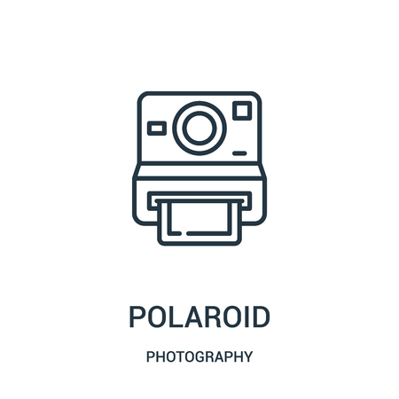 polaroid icon vector from photography collection. Thin line polaroid outline icon vector illustration. Linear symbol for use on web and mobile apps, logo, print media.