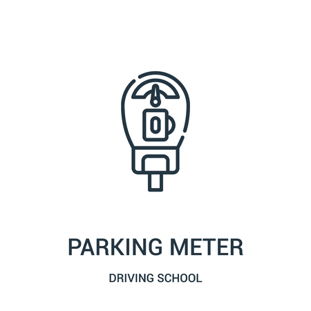 parking meter icon vector from driving school collection. Thin line parking meter outline icon vector illustration. Linear symbol for use on web and mobile apps, logo, print media.