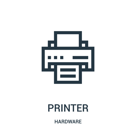 printer icon vector from hardware collection. Thin line printer outline icon vector illustration. Linear symbol for use on web and mobile apps, logo, print media.