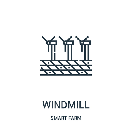 windmill icon vector from smart farm collection. Thin line windmill outline icon vector illustration. Linear symbol for use on web and mobile apps, logo, print media.