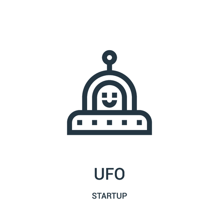 ufo icon vector from startup collection. Thin line ufo outline icon vector illustration. Linear symbol for use on web and mobile apps, logo, print media.