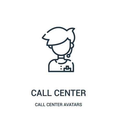 call center icon vector from call center avatars collection. Thin line call center outline icon vector illustration. Linear symbol for use on web and mobile apps, logo, print media. Illusztráció