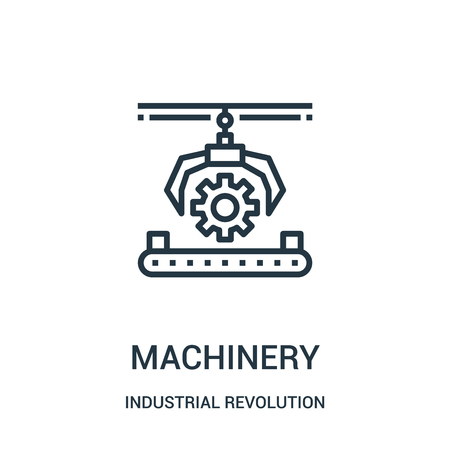 machinery icon vector from industrial revolution collection. Thin line machinery outline icon vector illustration. Linear symbol for use on web and mobile apps, logo, print media.