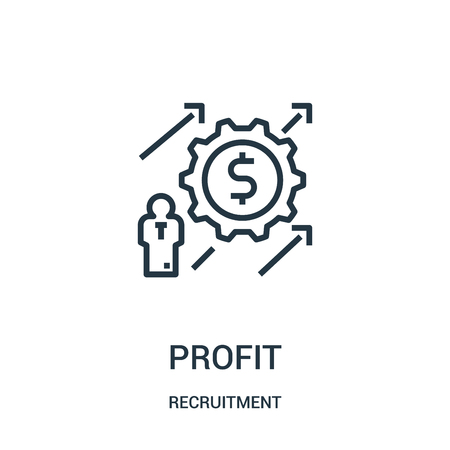profit icon vector from recruitment collection. Thin line profit outline icon vector illustration. Linear symbol for use on web and mobile apps, logo, print media.