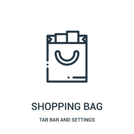 shopping bag icon vector from tab bar and settings collection. Thin line shopping bag outline icon vector illustration. Linear symbol for use on web and mobile apps, logo, print media.