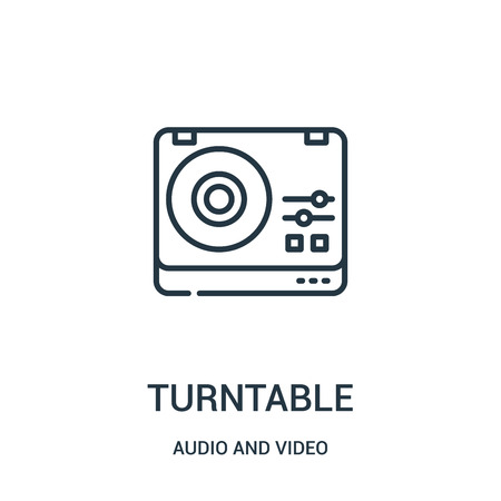 turntable icon vector from audio and video collection. Thin line turntable outline icon vector illustration. Linear symbol for use on web and mobile apps, logo, print media.