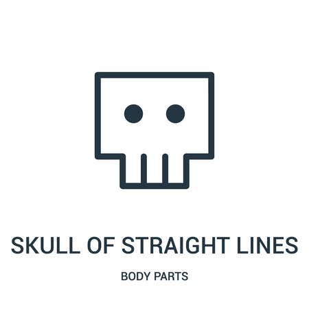 skull of straight lines icon vector from body parts collection. Thin line skull of straight lines outline icon vector illustration. Linear symbol for use on web and mobile apps, logo, print media.