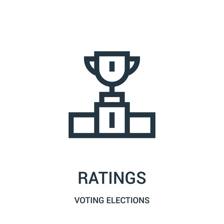 ratings icon vector from voting elections collection. Thin line ratings outline icon vector illustration. Linear symbol for use on web and mobile apps, logo, print media. Logo