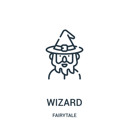 wizard icon vector from fairytale collection. Thin line wizard outline icon vector illustration. Linear symbol for use on web and mobile apps, logo, print media. Иллюстрация
