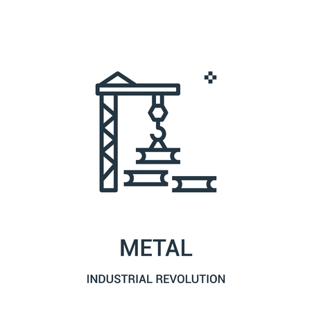 metal icon vector from industrial revolution collection. Thin line metal outline icon vector illustration. Linear symbol for use on web and mobile apps, logo, print media.