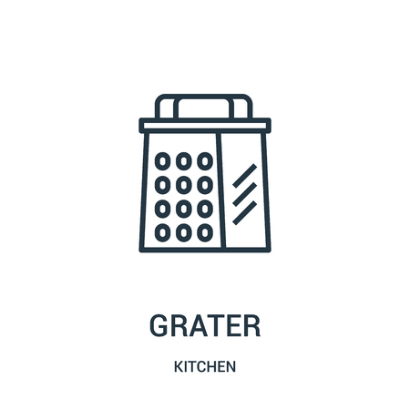 grater icon vector from kitchen collection. Thin line grater outline icon vector illustration. Linear symbol for use on web and mobile apps, logo, print media.