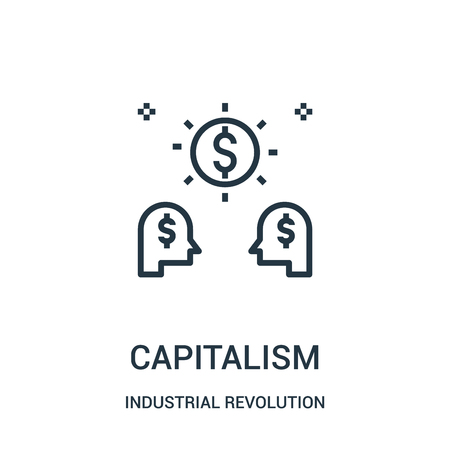 capitalism icon vector from industrial revolution collection. Thin line capitalism outline icon vector illustration. Linear symbol for use on web and mobile apps, logo, print media. Ilustração