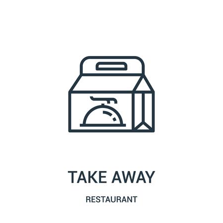 porta via il vettore dell'icona dalla collezione del ristorante. La linea sottile porta via l'illustrazione di vettore dell'icona del profilo. Simbolo lineare da utilizzare su app web e mobili, logo, supporti di stampa.