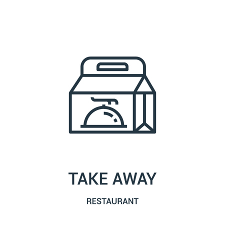 take away icon vector from restaurant collection. Thin line take away outline icon vector illustration. Linear symbol for use on web and mobile apps, logo, print media. 版權商用圖片 - 124038779