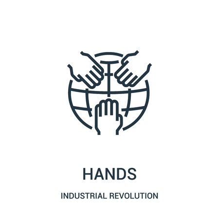 hands icon vector from industrial revolution collection. Thin line hands outline icon vector illustration. Linear symbol for use on web and mobile apps, logo, print media. Illusztráció