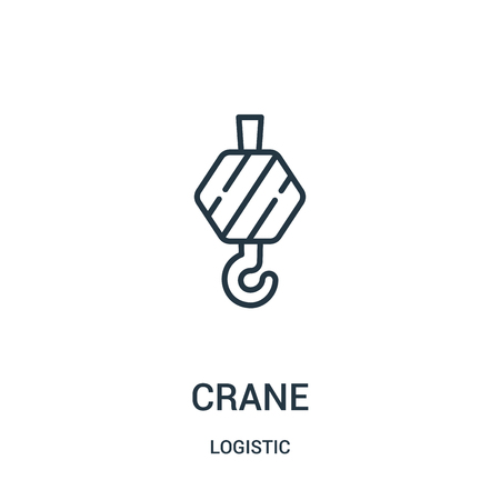 crane icon vector from logistic collection. Thin line crane outline icon vector illustration. Linear symbol for use on web and mobile apps, logo, print media. Vettoriali