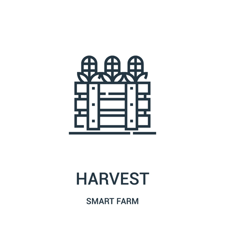 harvest icon vector from smart farm collection. Thin line harvest outline icon vector illustration. Linear symbol for use on web and mobile apps, logo, print media.