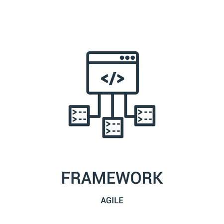 framework icon vector from agile collection. Thin line framework outline icon vector illustration. Linear symbol for use on web and mobile apps, logo, print media.