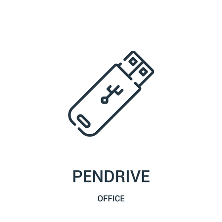 pendrive icon vector from office collection. Thin line pendrive outline icon vector illustration. Linear symbol for use on web and mobile apps, logo, print media.