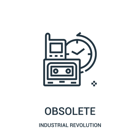 obsolete icon vector from industrial revolution collection. Thin line obsolete outline icon vector illustration. Linear symbol for use on web and mobile apps, logo, print media.